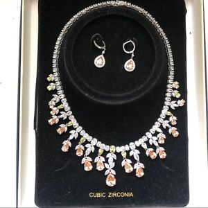 Cubic zirconia necklace and earring set